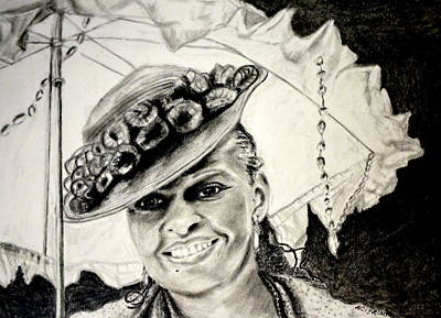 Drawing - Old Fashioned Girl In Black And White by Antonia Citrino