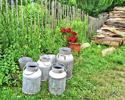 Photograph - Old Fashioned Milk Churns by Gabriele Pomykaj