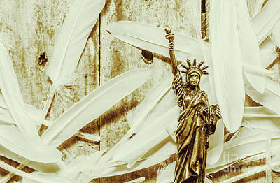 Patriotic Bronze Photograph - Old-fashioned Statue Of Liberty Monument by Jorgo Photography - Wall Art Gallery