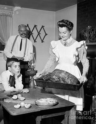 Old Grandfather Time Photograph - Old-fashioned Thanksgiving Dinner by Debrocke/ClassicStock
