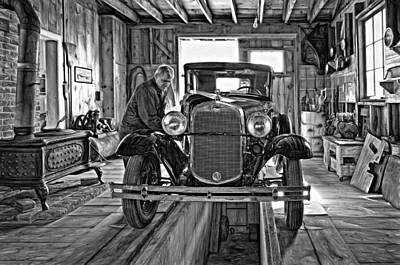 Old Fashioned Tlc - Paint Bw Art Print by Steve Harrington