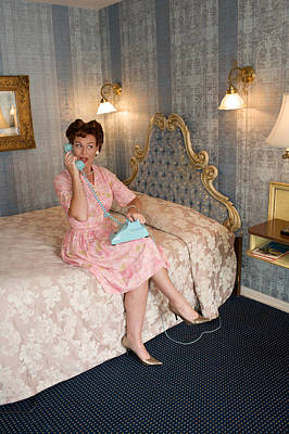 Old-fashioned Woman On Bed Talking Art Print