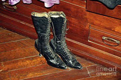 Photograph - Old Fashioned Womans Boots by Inspirational Photo Creations Audrey Woods