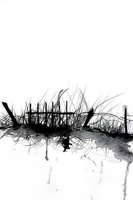 Drawing - Old Fence In Grass by ZileArt