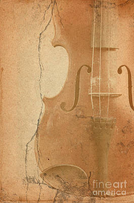 Abstract Composite Digital Art - Old Fiddle In Grunge Style by Michal Boubin