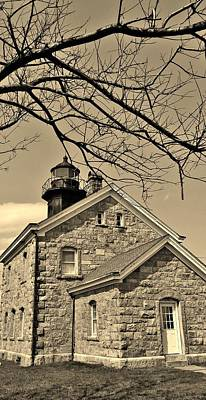 Photograph - Old Field Light House N Y  Sepia by Rob Hans