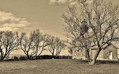 Photograph - Old Field N Y Lighthouse Sepia by Rob Hans