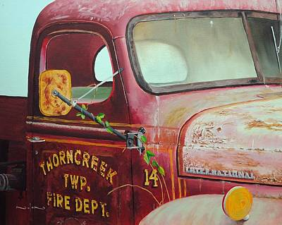 Old Fire Trucks Painting - Old Fire Truck by Nolan Clark