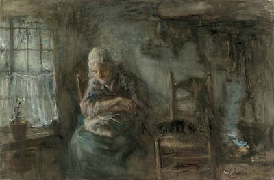 Jozef Israels Painting - Old Fisherwoman by Jozef Israels