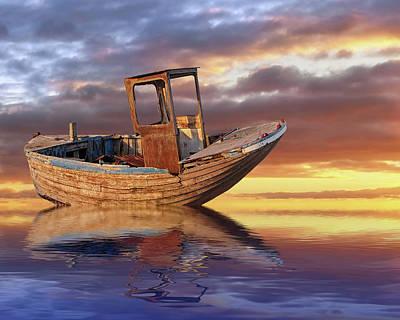 Photograph - Old Fishing Boat Drifting At Sunset by Gill Billington