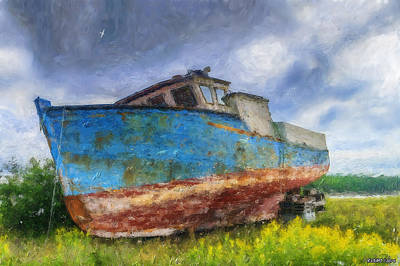 Wild And Wacky Portraits Rights Managed Images - Old Fishing Boat Royalty-Free Image by Ken Morris