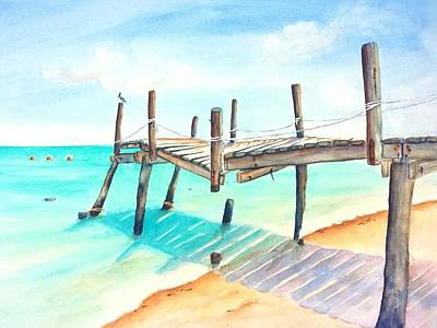 Painting - Old Fishing Pier 3 Watercolor by Carlin Blahnik CarlinArtWatercolor