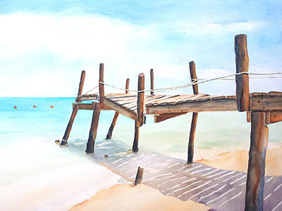 Painting - Old Fishing Pier Watercolor by Carlin Blahnik CarlinArtWatercolor