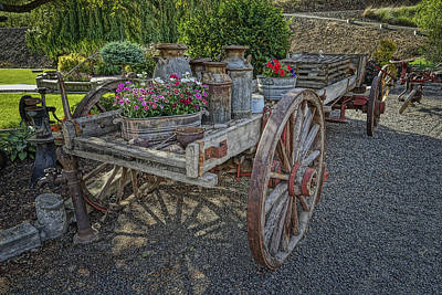 Photograph - Old Flatbed Farm Wagon Washington Dsc04534 by Greg Kluempers