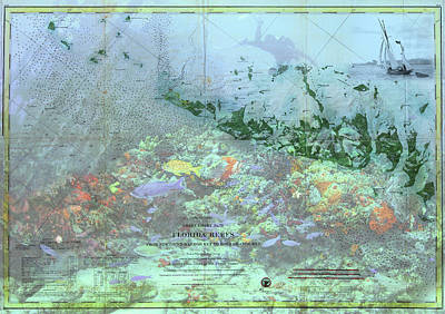 Photograph - Old Florida Keys Reefs Map by Debra and Dave Vanderlaan