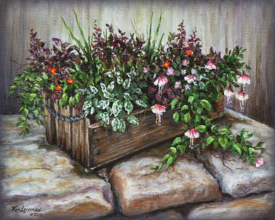 Art Print featuring the painting Old Flower Box by Kim Lockman
