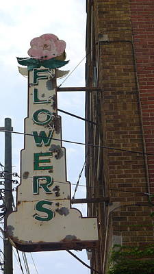 Photograph - Old Flowers Sign by Colleen VT