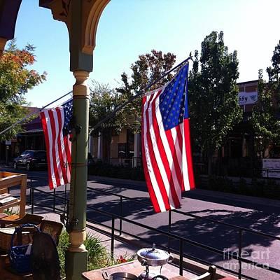 American Flags In Old Folsom Art Print by Flo DiBona
