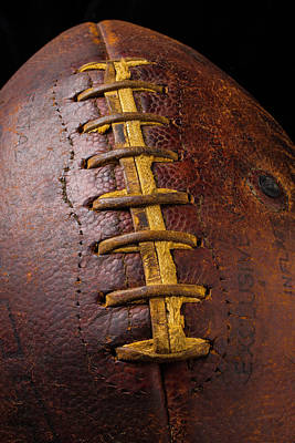 Weatherworn Photograph - Old Football Close Up by Garry Gay