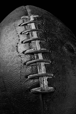 Weatherworn Photograph - Old Football In Black And White by Garry Gay