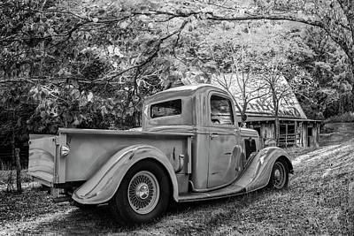Photograph - Old Ford At The Farm In Black And White by Debra and Dave Vanderlaan