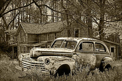 Sepia Vintage Farmhouse Photograph - Old Ford Coupe In Sepia Tone by Randall Nyhof