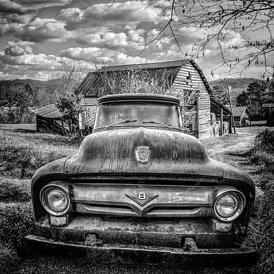 Photograph - Old  Ford On The Farm Black And White by Debra and Dave Vanderlaan