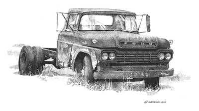 Wall Art - Drawing - Old Ford by Paul Shafranski
