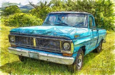 Old Ford Pick Up Truck Pencil Art Print by Edward Fielding