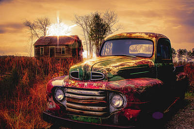 Photograph - Old Ford Pickup Truck In Sunset Golds by Debra and Dave Vanderlaan