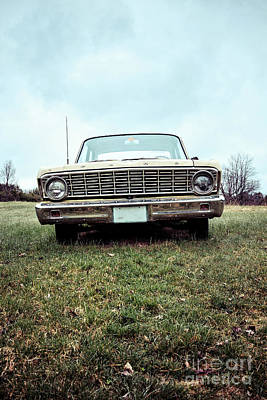 Oldtimers Photograph - Old Ford Sedan In The Field by Edward Fielding