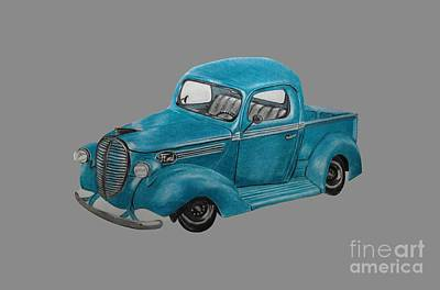 Ford Truck Drawing - Old Ford Truck by Jamie Silker