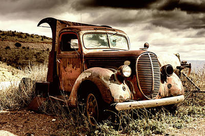 Photograph - Old Ford Truck In Desert by Miles Whittingham