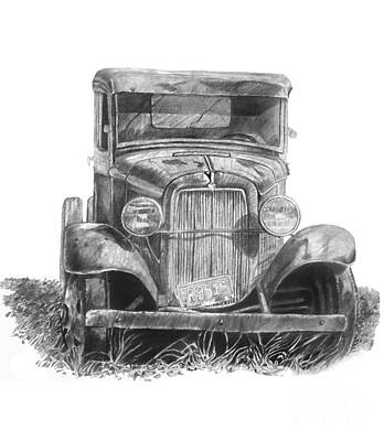 Ford Truck Drawing - Old Ford Truck by Scott Parker