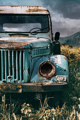 Photograph - Old Forgotten Blue Car by Jaroslaw Blaminsky