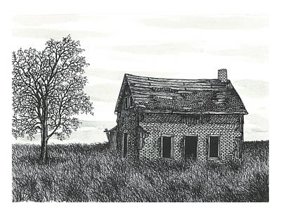 Abandoned House Drawing - Old Forgotten Farmhouse In Early December by Jonathan Baldock