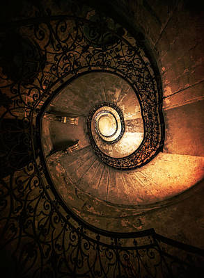 Mystery Door Photograph - Old Forgotten Spiral Staircase by Jaroslaw Blaminsky