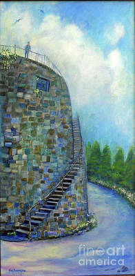 Painting - Old Fort Wall On Savannah River Street by Doris Blessington