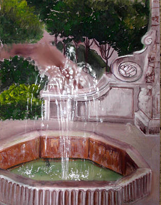 Bathouse Painting - Old Fountain by Anne Cameron Cutri
