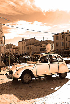 2cv Digital Art - Old French Car Poster by Alex Antoine