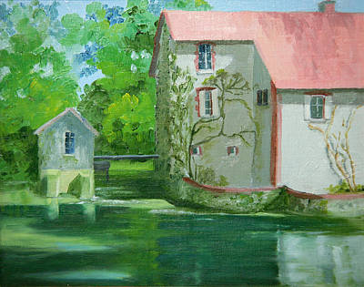 Old Mill Scenes Painting - Le Joli Moulin by Roxanne Rodwell