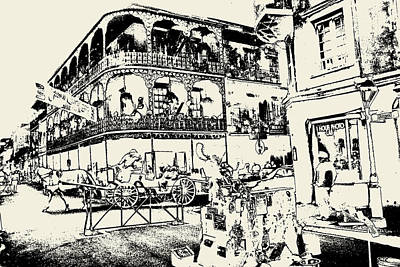 Old French Quarter New Orleans - Ink Art Print by Art America Online Gallery