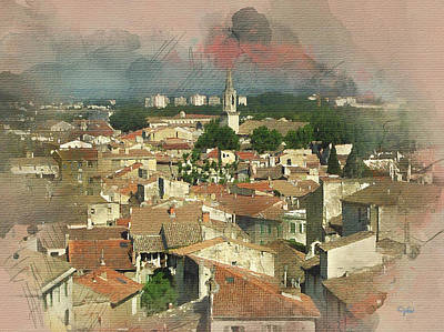 Digital Art - Old French Village by Paulette B Wright