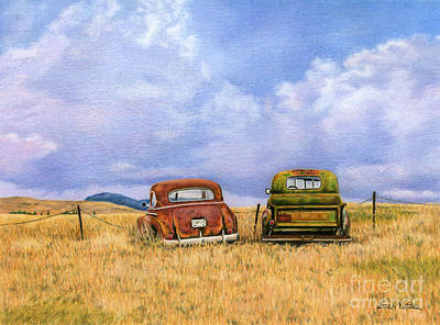Vintage Truck Painting - Two Old Friends  by Sarah Batalka