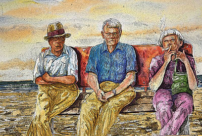 Contemplation Mixed Media - Old Friends by Shirley Sykes Bracken