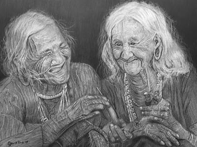 Drawing - Old Friends, Smokin' And Jokin' by Quwatha Valentine