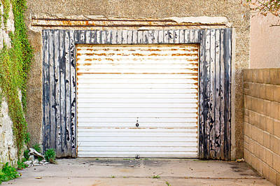 Construction Photograph - Old Garage Door by Tom Gowanlock