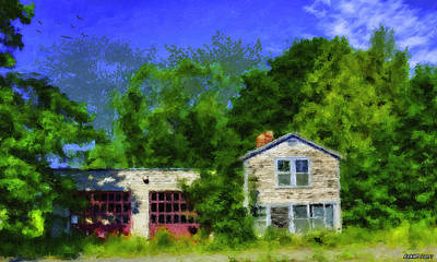 Digital Art - Old Garage In Maine by Ken Morris