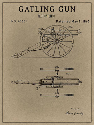 Drawing - Old Gatling Gun Design  by Dan Sproul