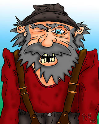 Digital Drawing Drawing - Old Geezer by Ross Powell